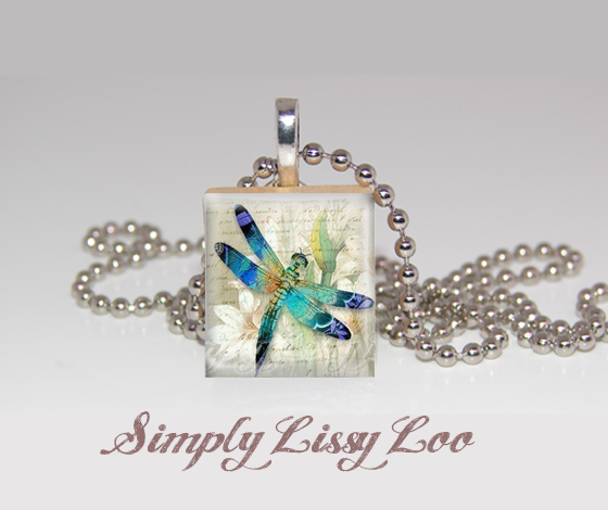 Dragon Fly with Flowers Scrabble Tile Necklace